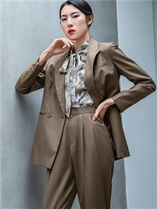 2021三弗秋裝棕色西裝套裝