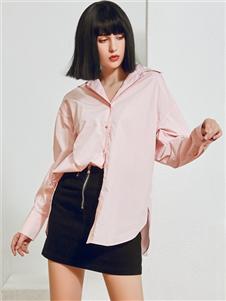 2021尼赫菲秋裝粉色襯衫