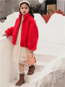 2021城秀秋冬紅色毛絨外套