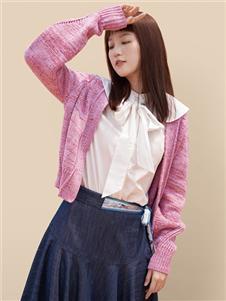 丽迪莎粉色针织外套