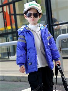 1+2=3童裝冬季新款藍色羽絨外套