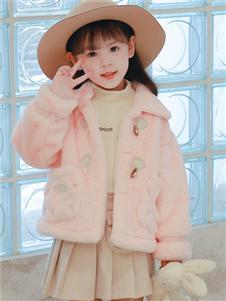 1+2=3童裝新款粉色羊羔絨外套