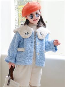 1+2=3童裝新款藍色外套