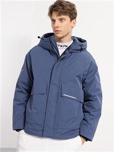 2021喬治邦尼冬裝藍色羽絨服