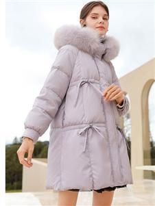 2021禹妃冬装浅紫色羽绒服