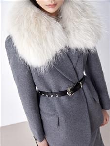 伊纳芙2021冬装新款毛领呢大衣