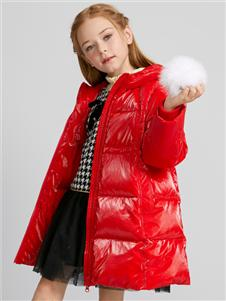 Deesha笛莎新款紅色羽絨服