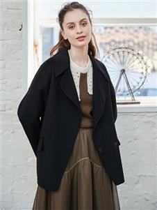 雁腾逸新款黑色西服外套