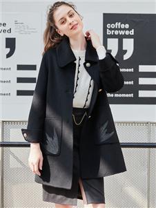 雁腾逸新款黑色中长款大衣