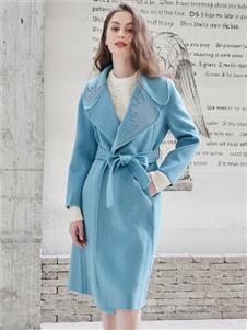 雁腾逸新款蓝色大衣