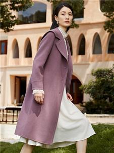 2021简约风情冬装紫色大衣